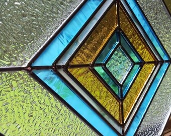 Stained Glass Diamond Panel in Amber & Turquoise Window Suncatcher
