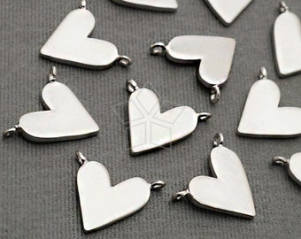 PD-1917-MS / 2 Pcs - Dainty Flat Heart Pendant, Small Heart Sideways Pendant, Love Charms, Matte Silver Plated over Brass / 11mm x 9mm