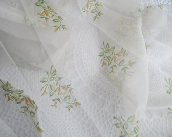 "Vintage Sheer Curtains 2 Panels White with Greenery Sheer Large 83"" Long"