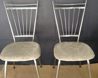 Italian Chrome Mid Century Gio Ponti Style Petite side Pair /Kitchen Chair