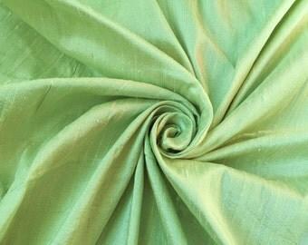 "Light Green 100% dupioni silk fabric yardage By the Yard 45"" wide"