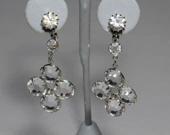 Vintage Open Back Crystal Chandelier Statement Earrings, Retro 1950s Drop Runway Earrings