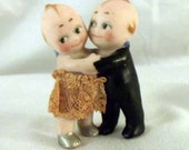 Porcelain Kewpie Doll Huggers Lace Skirt and Black Tux Wedding Cake Topper Vintage 1920s