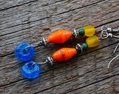 Paper bead jewelry, Rustic Jewelry, Natural Materials Jewelry, Paper Earrings, Blue Orange Yellow