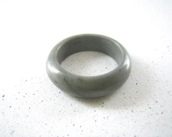 Marbled Gray Solid Stone Ring - Size 6 1/4 +