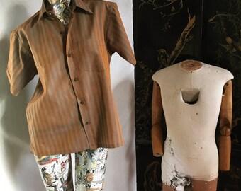 60s Vintage Sharkskin Sunset Rust and Blue Shirt  medium large