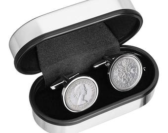 50th Birthday Gift - Lucky 1967 Old English sixpence Cufflinks Includes presentation box - 100% satisfaction - 3 day delivery option