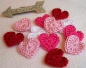 Crochet Conversation Heart ~ Applique, Embellishment, Gift Wrapping, Packaging, Craft, 5-pc