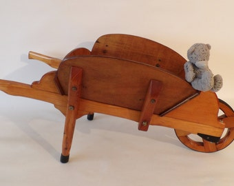 Large Vintage Child's Victorian Style Wooden Wheelbarrow - Made in Scotland