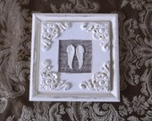Petite Angel Wings, Shabby French country wall decor, Repurposed vintage, Square Assemblage