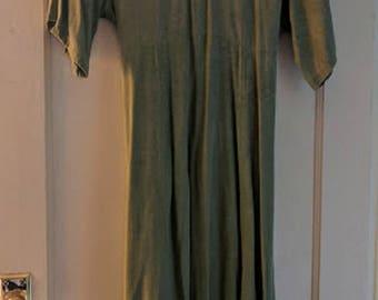 "Vintage Handmade Empire Waist Sage Green Rayon Dress with Unique Trim, ""Mia!"" Circa 1990's"