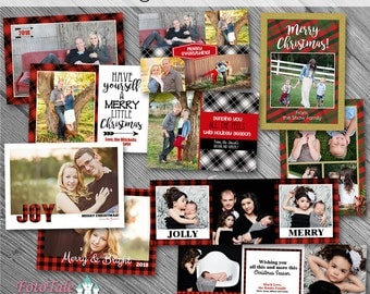 Christmas - Plaid Tidings Christmas Card Collection - 5x5 Tri-fold and 5x7 photo card templates for photographers