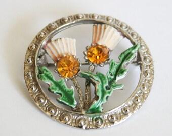 Vintage Scottish thistle brooch. Enamel thistle brooch. Citrine rhinestone. Signed Hollywood