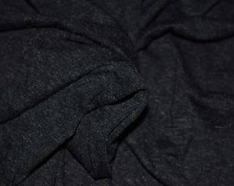 Dark Gray Jersey knit fabric Medium Heather Gray Rayon stretch material by the yard gothic goth stretchy cloth textile emo charcoal