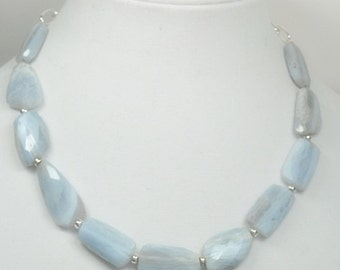 Blue Lace Agate Necklace - Blue Lace Agate Flat Slab Jewelry - Lace Agate Necklace - Statement - Collar - Chunky - Natural Agate Gemstone