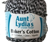 Aunt Lydia's Baker's Cotton Crochet Thread, Black and White Plied, COlor 12, Light Weight Soft Yarn