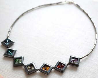 Summer Party Gift Statement Necklace Bohemian Jewelry Colorful Rainbow Chakra Crystal Necklace Hematite Square Frames Artisan Sophisticated