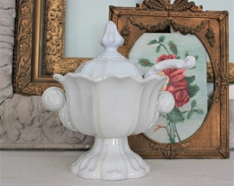 Antique English T & R Boote Sydenham Shape White Ironstone Covered Sauce Tureen with Ladle