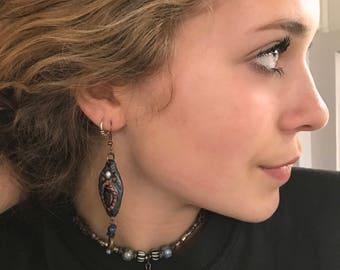 clay EARRINGS,dangle earrings, beaded earrings,hippie earrings,folk earrings,zen earrings, leaf  earrings, pewter earrings Zasra