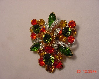 Vintage Green, Yellow & Orange Rhinestone Brooch  16 - 635
