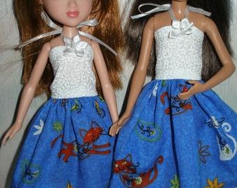 Handmade Skipper Clothes --white and blue cat print dress
