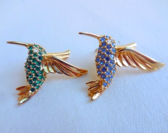 LOT of 2 Goldtone and RHINESTONE Hummingbird Pins Blue and Green