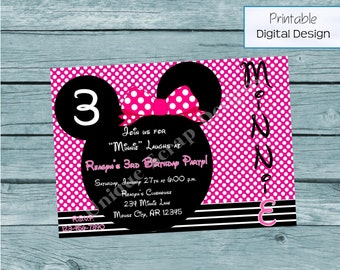 Minnie Mouse Birthday Party Invitation Style DI2184 DIGITAL FILE - Printable