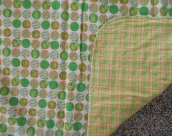 Hem Stitched Infant Car Seat Flannel Blanket - yellow, orange, lime green
