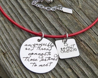 10 dollars off: An Invisible Red Thread...an Adoption Necklace...Personalized
