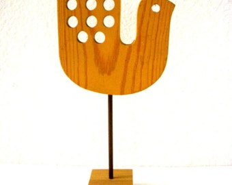 Mid Century Danish Modern Wooden Bird Sculpture - Vintage 1950 1960s Wood Stylized Bird made in Sweden - Swedish 50s 60s Danish Modern Decor