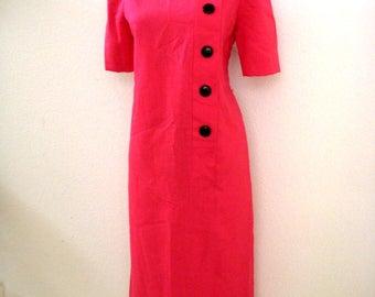 Vintage 60s 70s HOT PINK Shift Dress - Pink Linen Short Sleeve Sheath Dress by Leslie Fay - Hot Pink Day Dress - Size Medium to Large 12