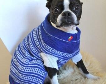 vintage dog sweater -  ALONG the TRACKS blue & white turtlenecks / L dog