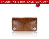 Valentine's Day SALE - - iPhone 6+, iPhone 7+ RETROMODERN aged leather wallet - - LIGHTBROWN