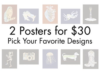Buy Any Two Map Art Posters for 30 // Choose from Many Different Designs // Reproductions from Original Papercuts