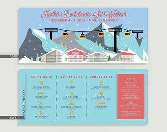 Bachelorette Party Ski Weekend Invitation with Itinerary - Winter - Personalized Printable File or Print Package Available  #00114-PI10