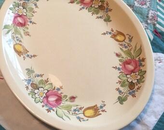 Vintage Large Serving Platter Assorted Floral Pink and Blue #4089