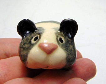 Gray Banded Teddy Bear Hamster  - Terrarium Ceramic Figurine - Miniature Figurine  - Pottery Animal - Gray and White  Hamster