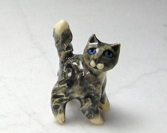 Terrarium Gray Tuxedo Cat - Handmade Miniature Figurine - Terrarium Cat - Terrarium Miniature Figurine - Kitten Figurine - Pottery Animal
