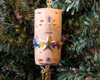 Wine Cork Christmas Ornament, Jeweled Decorated Repurposed Cork