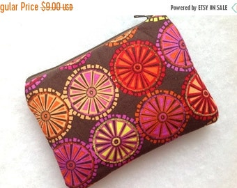SUNDAY SALE Zipper Pouch,Change Purse,Small Gadget Case,Card Case,Padded Pouch-Floral Circles- Brown Fuchsia Gold