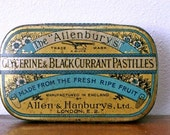 Vintage London The Allenburys Sweet Tin 1950s Pastilles Candy Company Allenbury English England Photography Prop cottage decor