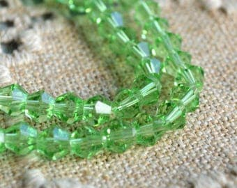 50pcs Faceted Bicone 8mm Glass Bead Lime Green 16 Inch