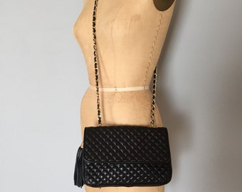 quilted leather messenger bag | leather tassel fringe bag | chain and leather handle