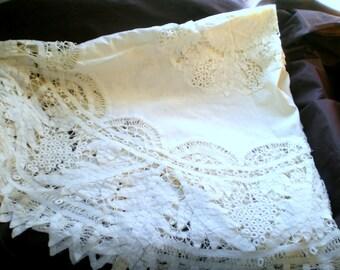 Vintage Battenburg Lace Round Table Cloth**Ecru Color**