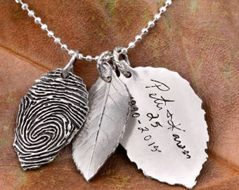 Fingerprint Leaves Using Your Actual Finger Print- Fingerpint Jewelry- Christmas Jewelry