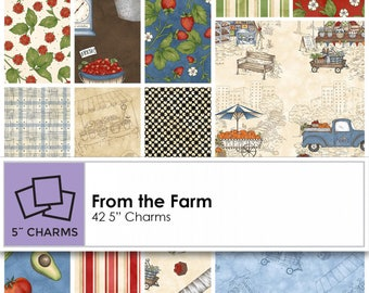 From The Farm (42) 5 inch Precut Squares From Maywood Studios Preorder Available May 12th