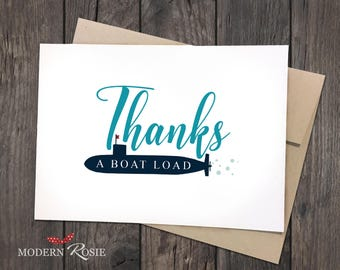 Thanks a Boat Load Thank You Cards- Set of 10 folded greeting cards and envelopes