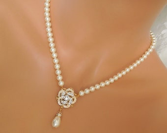 Bridal Necklace Ivory Swarovski Pearls wedding pearl Necklace Gold Pearl Rhinestone Necklace Statement Bridal swarovski Necklace ROSELANI
