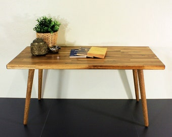 Acacia Patchwork Wood Coffee Table - Modern Furniture Rustic Mid Century Style