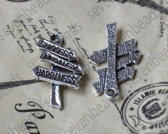 24 pcs Charms Antique Silver Tone Signpost Success Money and Happiness,Charms Fingdings pendant,jewelry pendant finding, Metal pendant